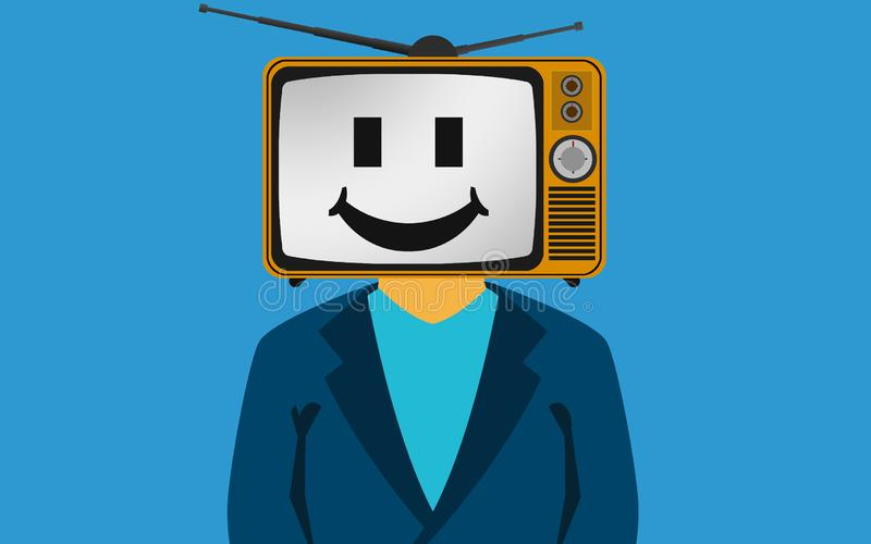 TV on the head of a man with smily face royalty free illustration