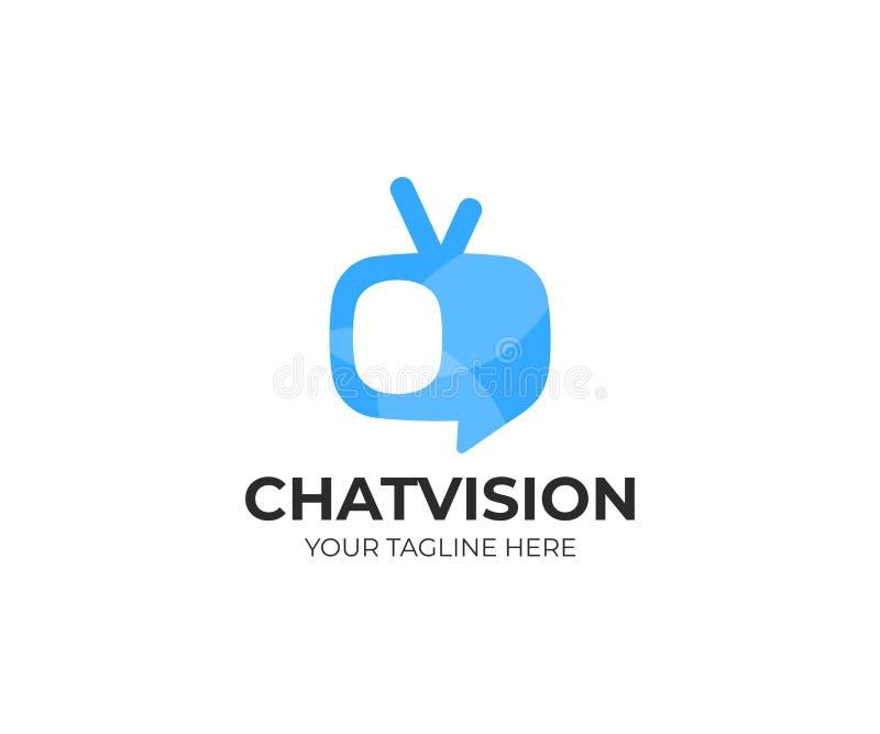 TV-het malplaatje van het praatjeembleem Televisie vectorontwerp royalty-vrije illustratie