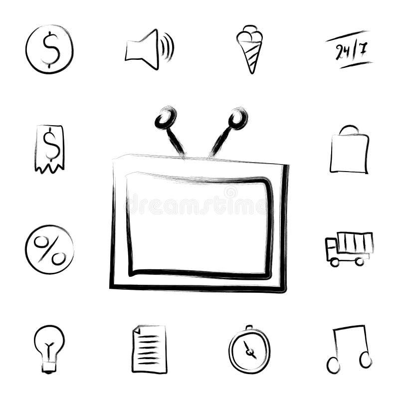 TV-het pictogram van de schetsstijl Gedetailleerde reeks van bankwezen in de pictogrammen van de schetsstijl Premie grafisch ontw stock illustratie