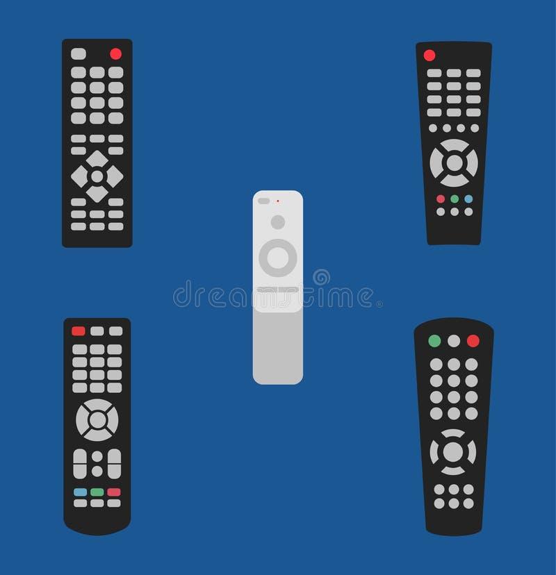 TV-het pictogram vastgestelde oud van de afstandsbediening vectorillustratie en modern stock illustratie