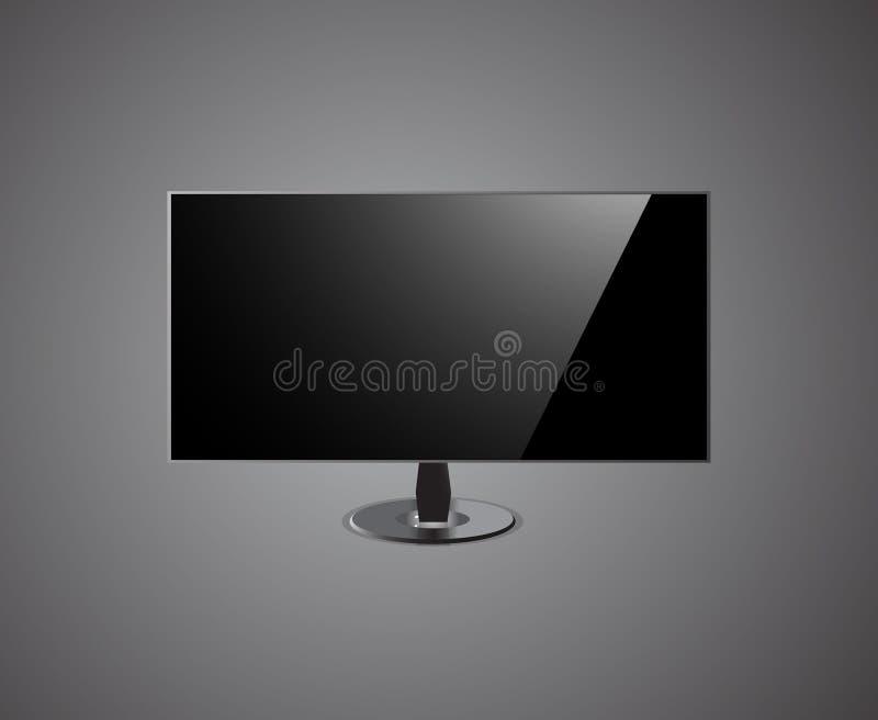 TV-het Scherm hd- op grijze Achtergrond royalty-vrije stock foto