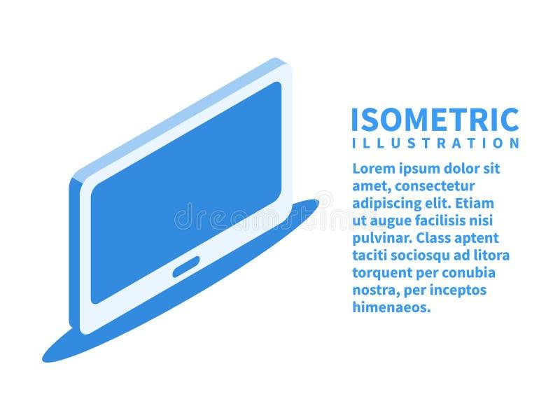 TV-het schermpictogram Isometrisch malplaatje voor Webontwerp in vlakke 3D stijl Vector illustratie vector illustratie