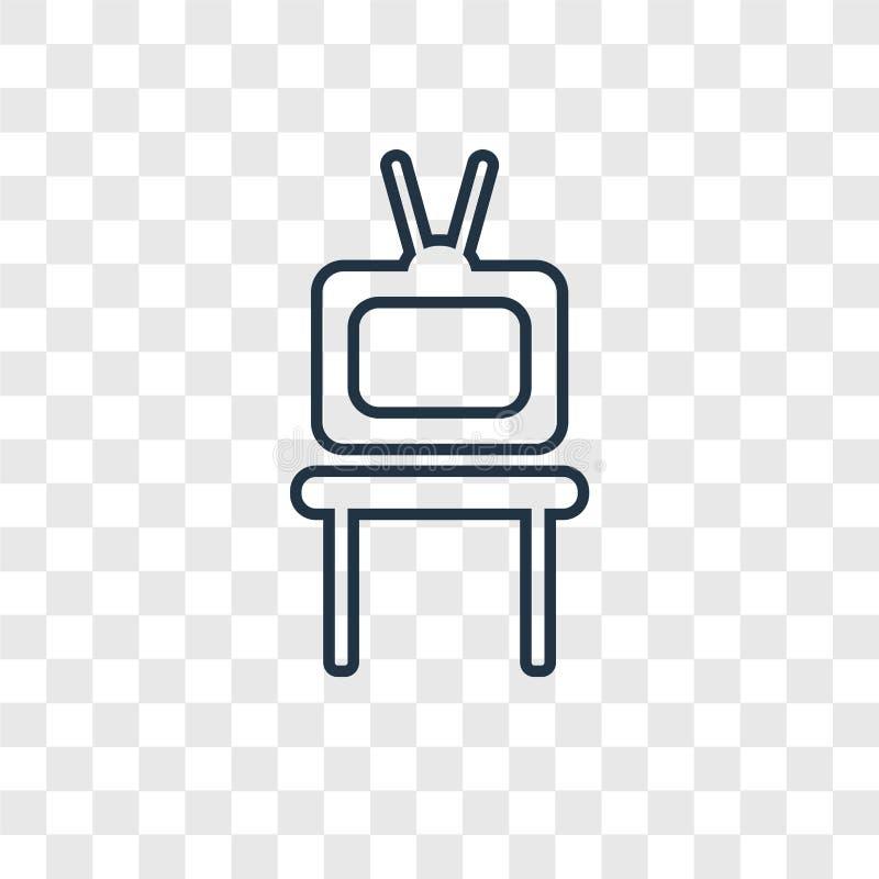 TV-het vector lineaire die pictogram van het lijstconcept op transparante rug wordt geïsoleerd vector illustratie
