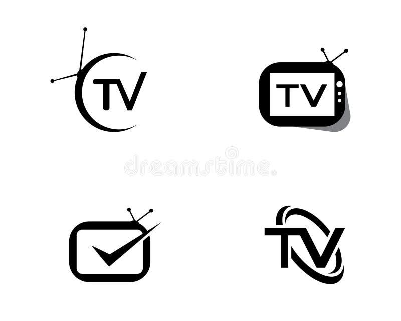 TV-het vlakke pictogram van het embleemontwerp royalty-vrije illustratie