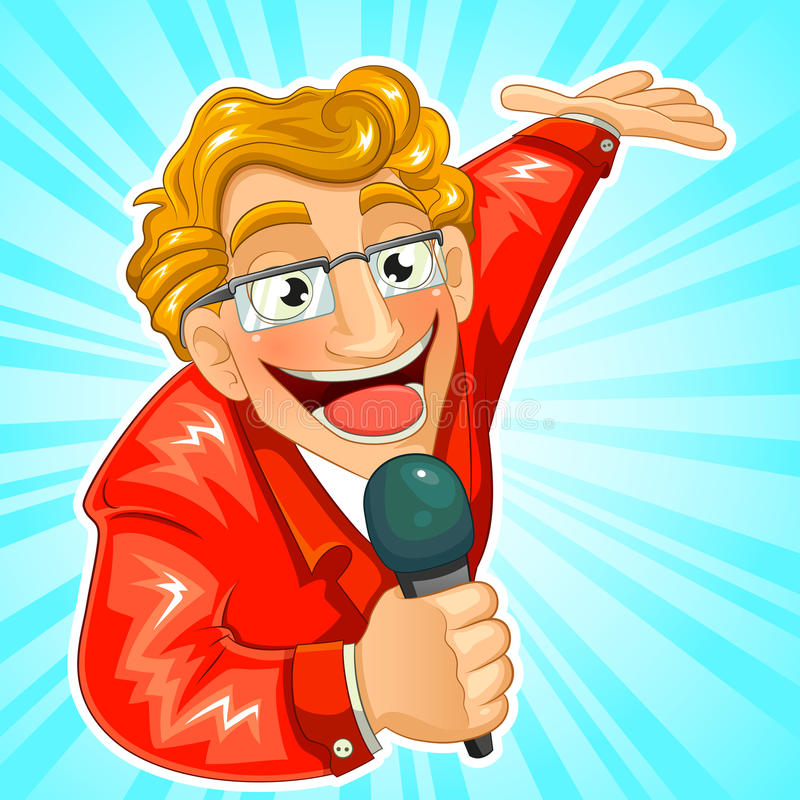 TV host. Cartoon TV host holding a microphone and making a presenting gesture stock illustration