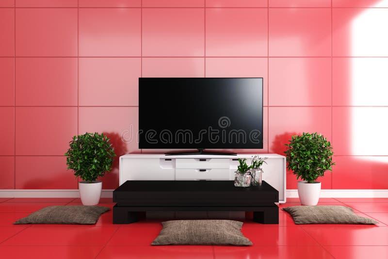 TV i modern vardagsrum, röda tegelplattor planlägger färgrikt framf?rande 3d vektor illustrationer