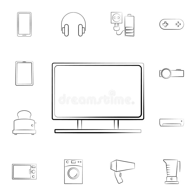 TV icon. Detailed set of home appliances. Premium graphic design. One of the collection icons for websites, web design, mobile app. On white background on white vector illustration