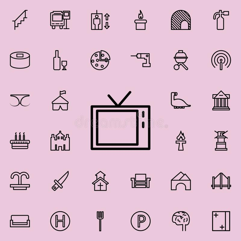 TV icon. Detailed set of minimalistic line icons. Premium graphic design. One of the collection icons for websites, web design, mo. Bile app on colored stock illustration