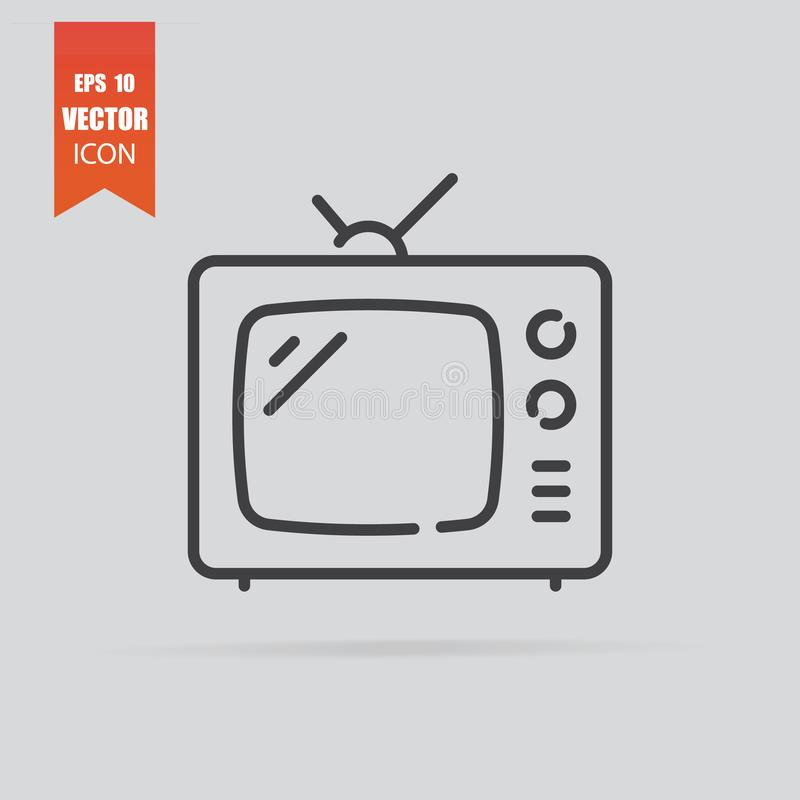TV icon in flat style isolated on grey background royalty free stock photos