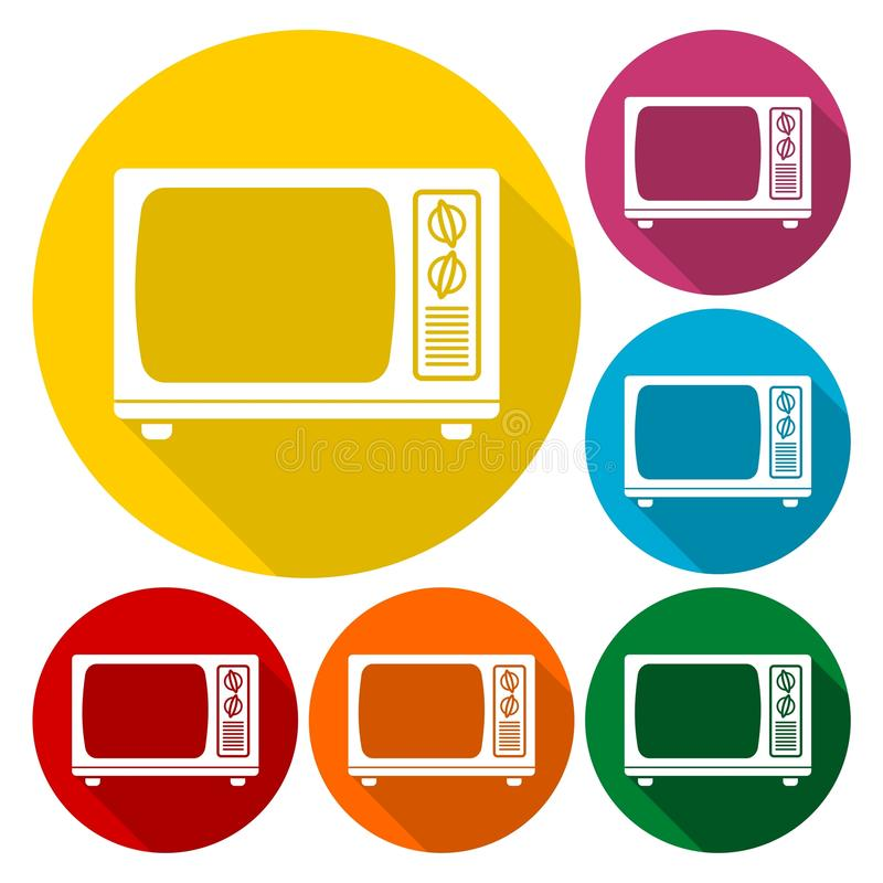 TV Icon, Old tv icons set with long shadow. Vector icon vector illustration
