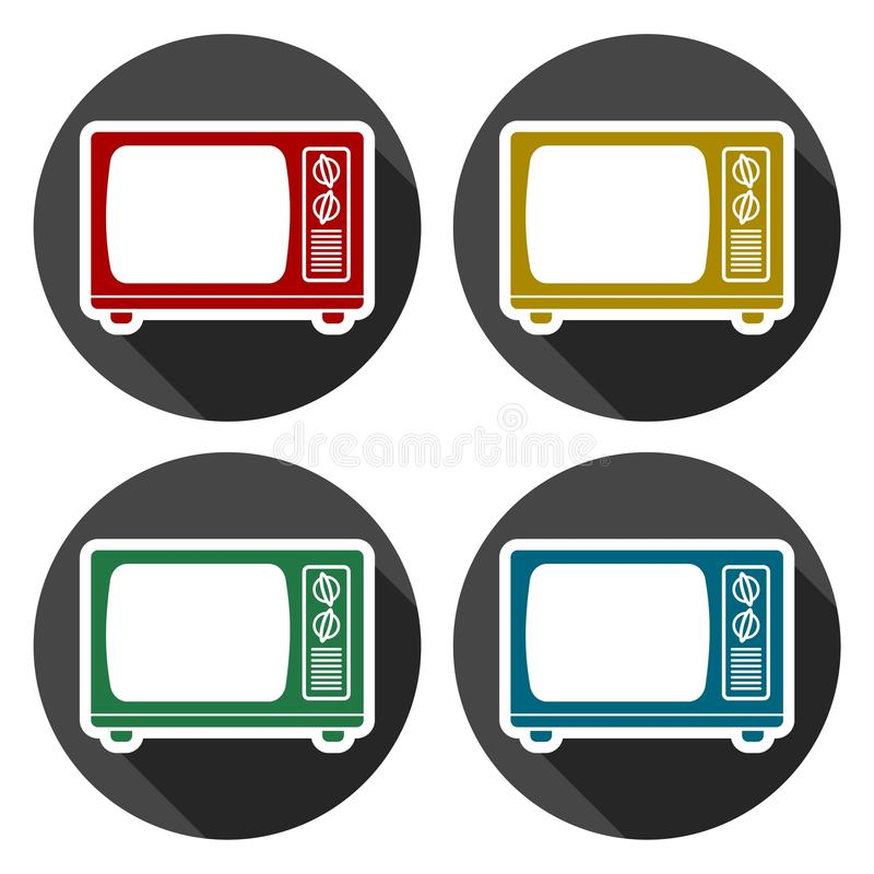 TV Icon, Old tv icons set with long shadow. Vector icon royalty free illustration