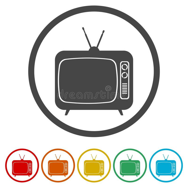 TV icon. Retro television symbol. Vector icon royalty free illustration