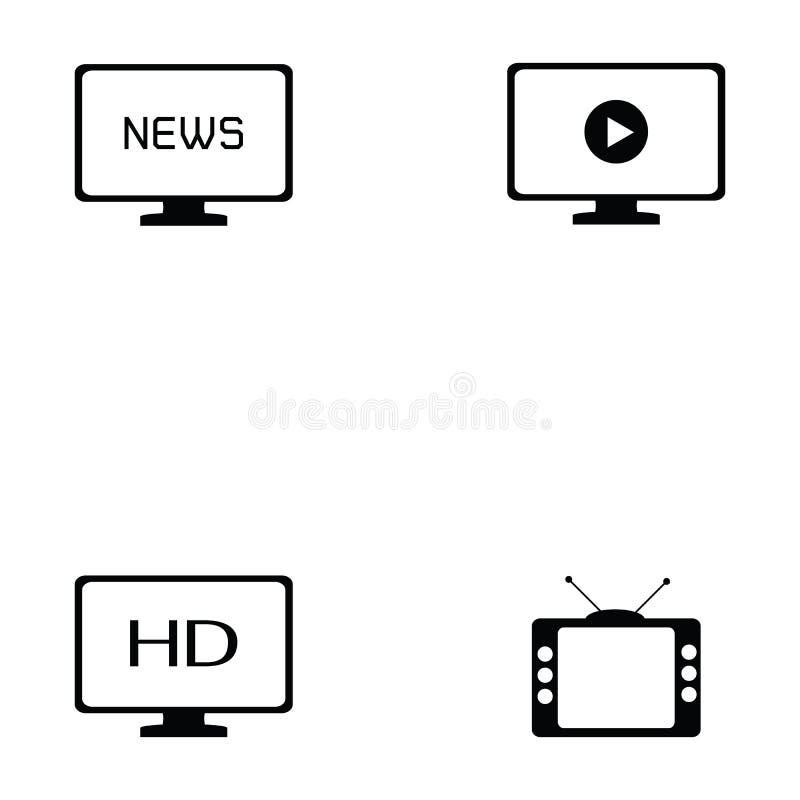 Tv icon set. The tv of icon set stock illustration