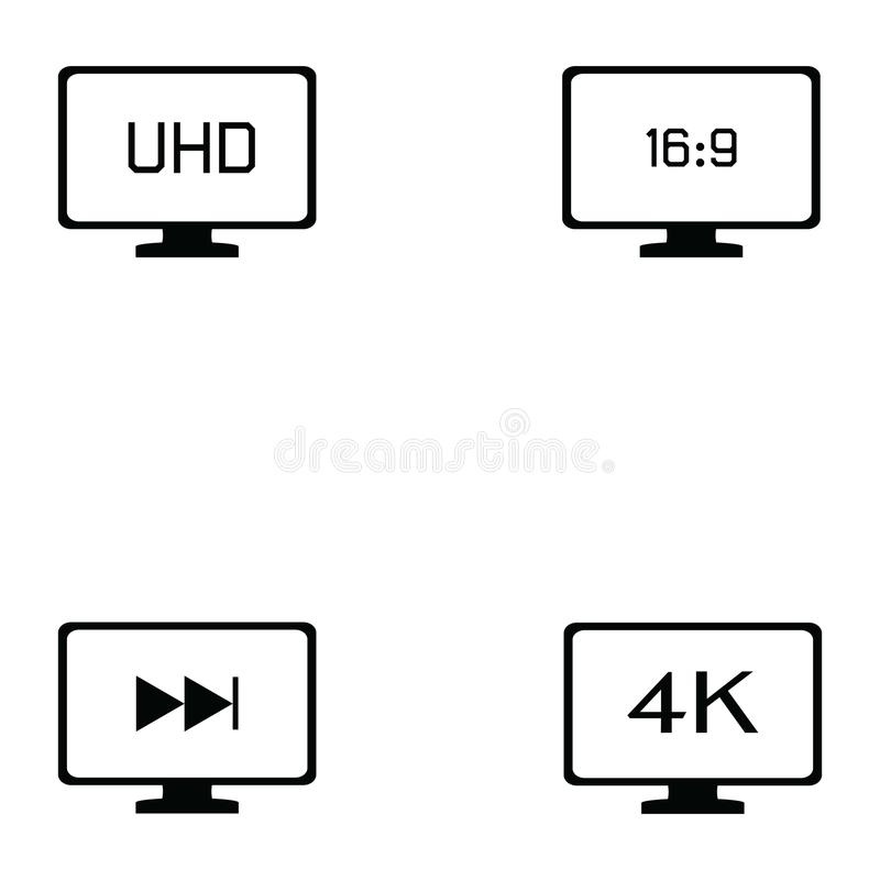 Tv icon set. The tv of icon set vector illustration