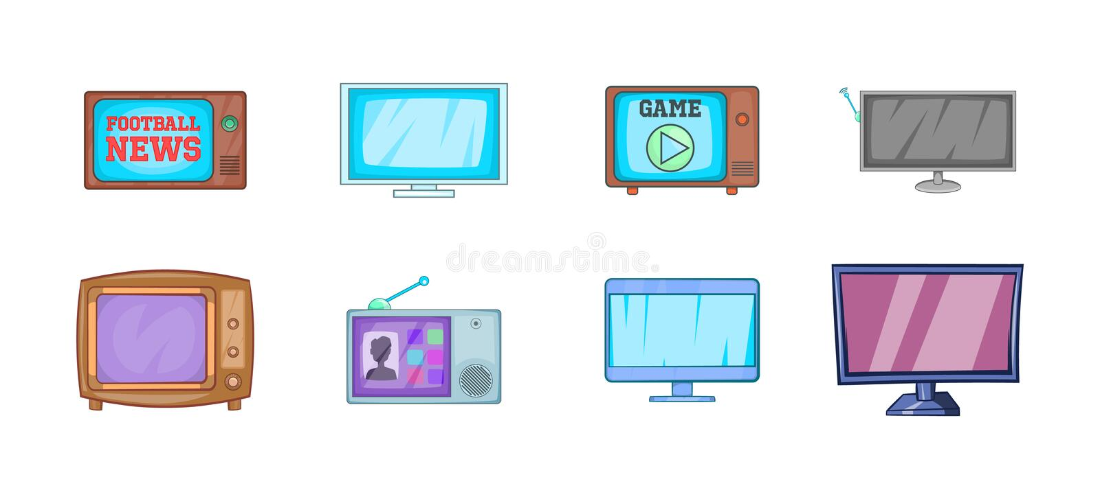 Tv icon set, cartoon style. Tv icon set. Cartoon set of tv vector icons for your web design isolated on white background vector illustration