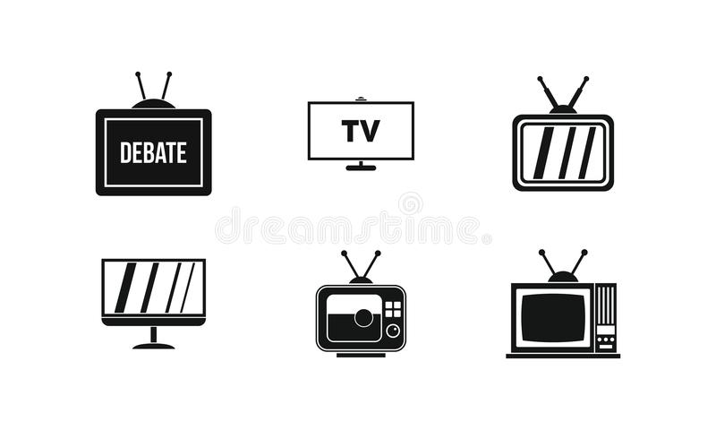 Tv icon set, simple style. Tv icon set. Simple set of tv vector icons for web design isolated on white background vector illustration
