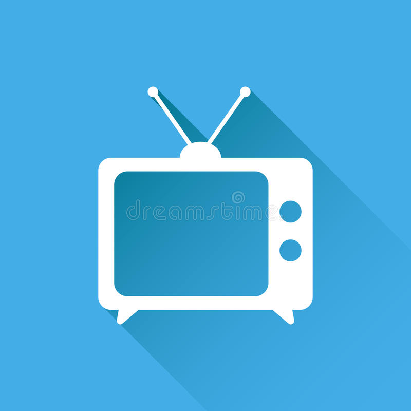 Tv Icon vector illustration in flat style isolated on blue background with long shadow. Television symbol for web site design, lo vector illustration