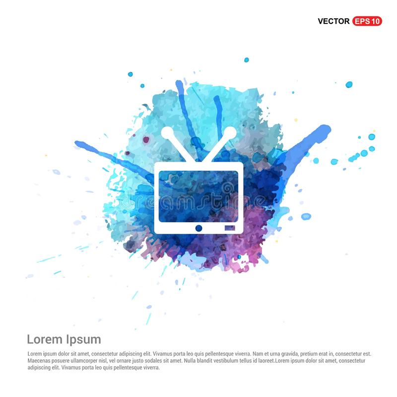 TV Icon - Watercolor Background vector illustration