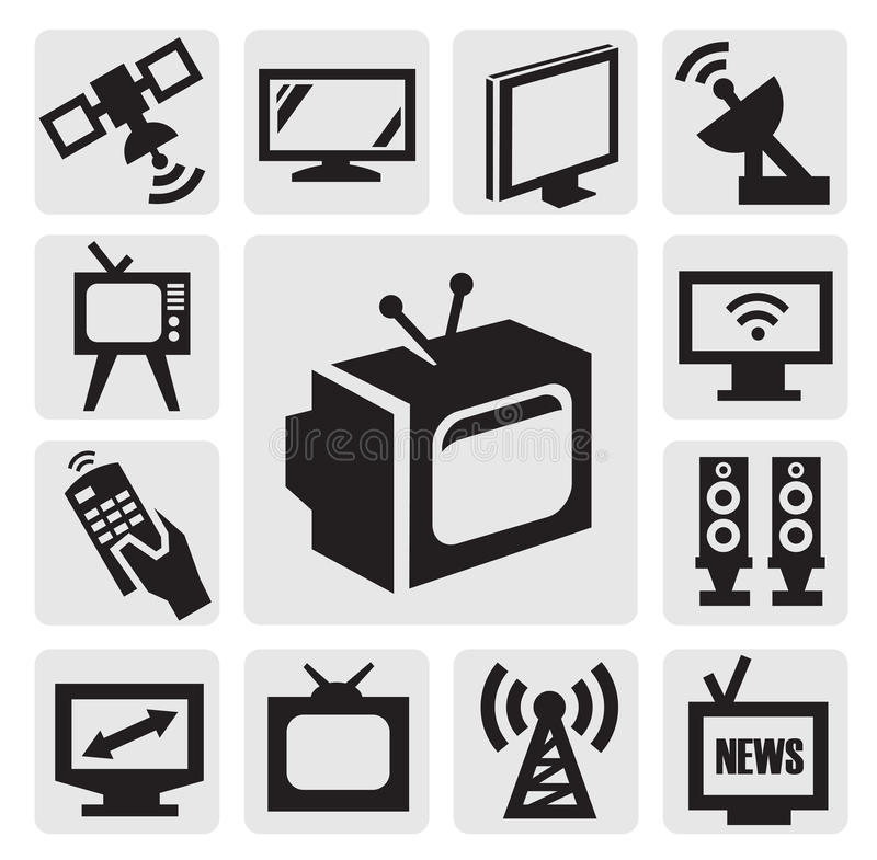 TV icons set. Vector black TV icons set on gray royalty free illustration