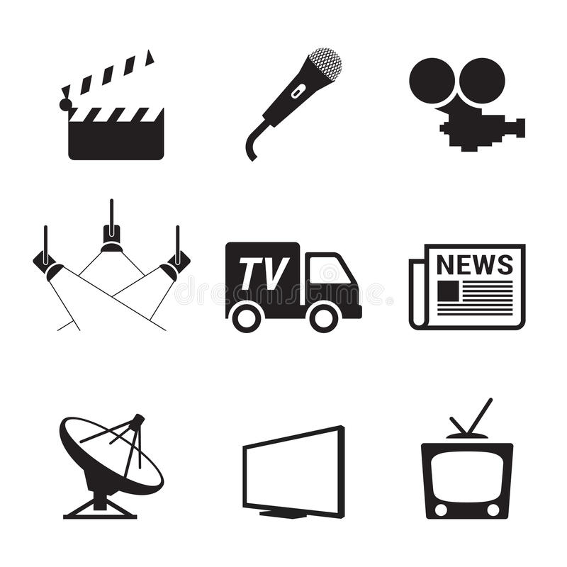 TV Icons. Set, black on a white background royalty free illustration