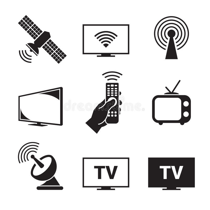 Tv icons set. Black on a white background vector illustration