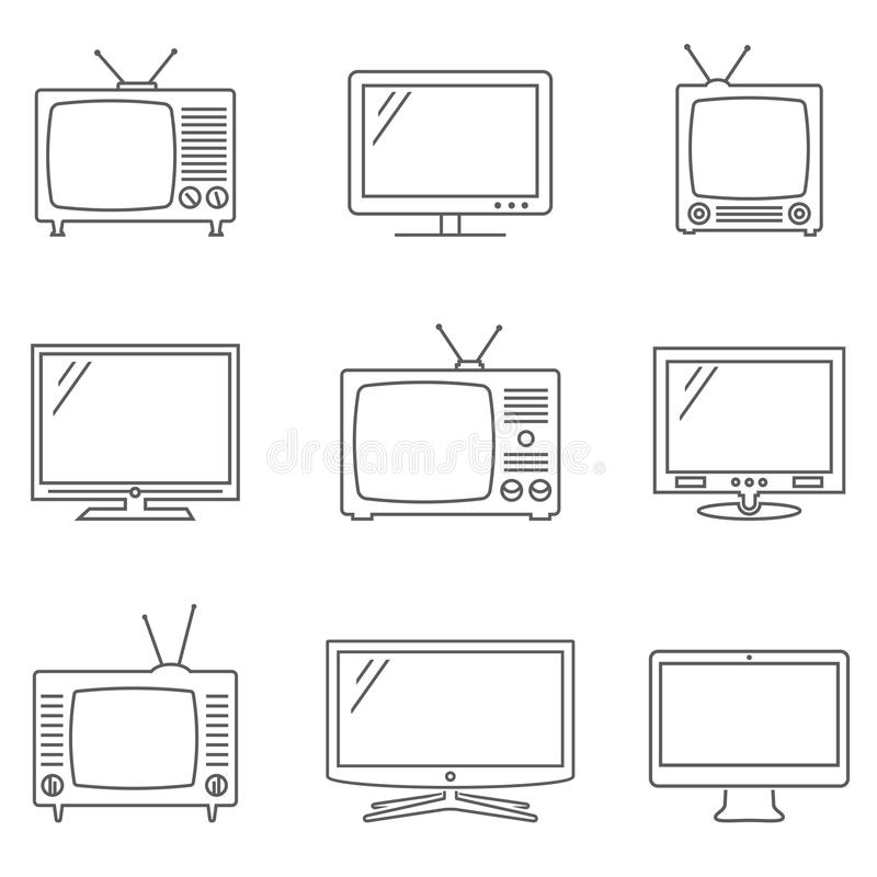TV icons set. Linear vector icons. TV isolated pictograms. Vector EPS10 royalty free illustration