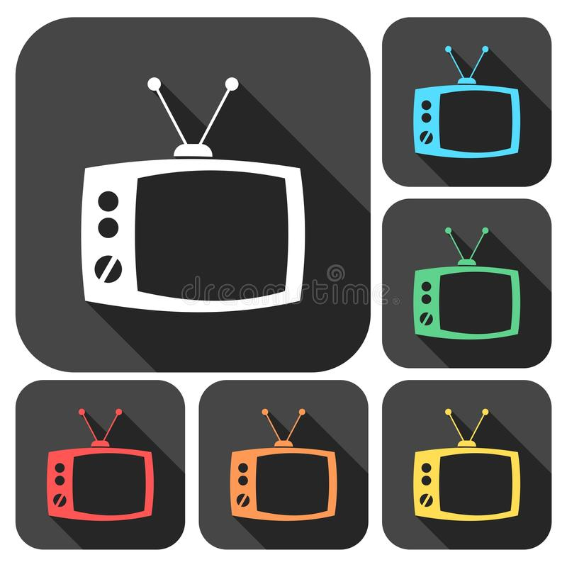 TV icons set with long shadow. Vector icon royalty free illustration