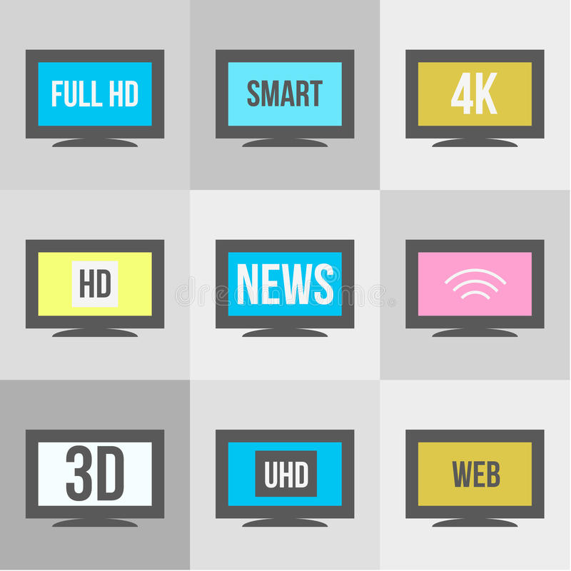 TV icons set. Screen and television, display and video vector illustration