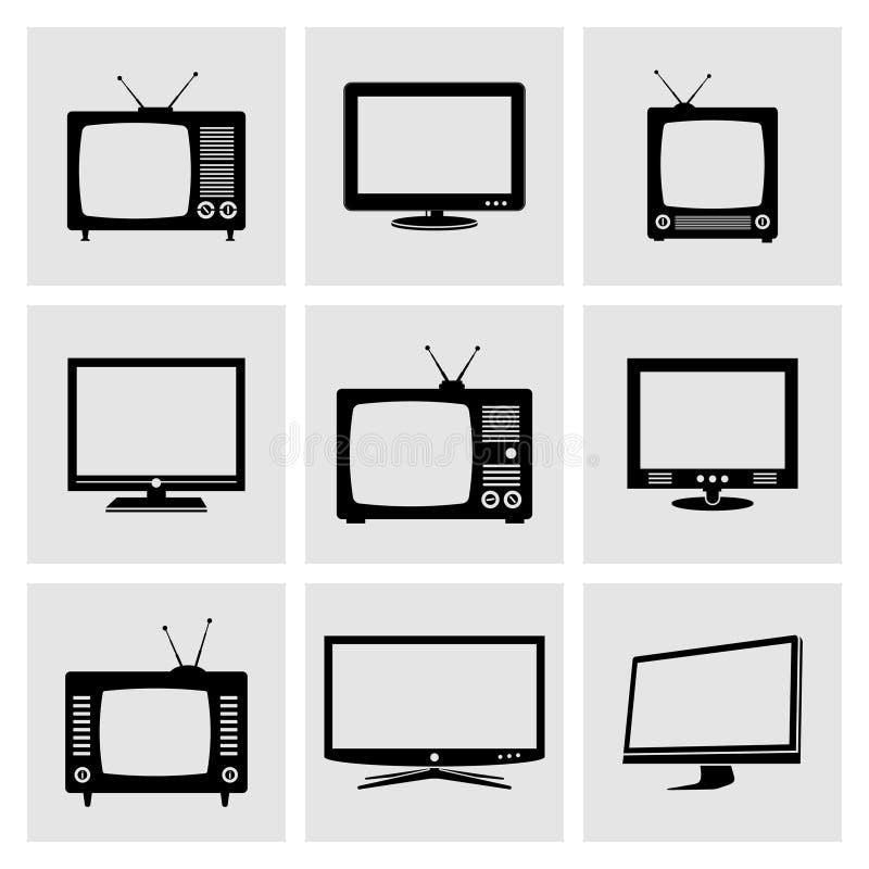 TV icons set. Various TV icons set isolated on white background royalty free illustration