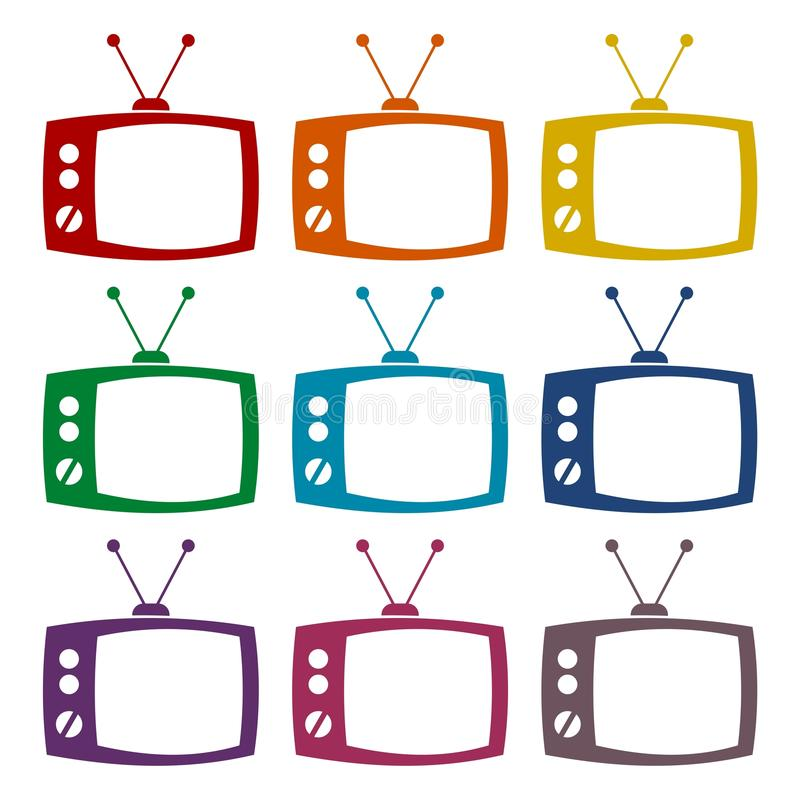 TV icons set. Vector icon royalty free illustration