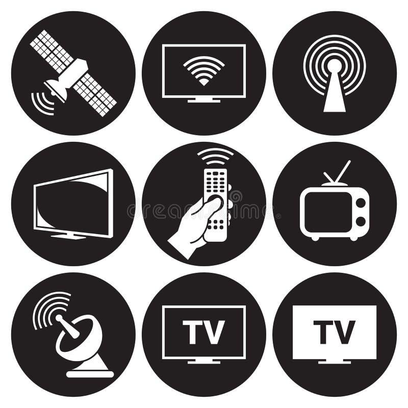 Tv icons set. White on a black background royalty free illustration
