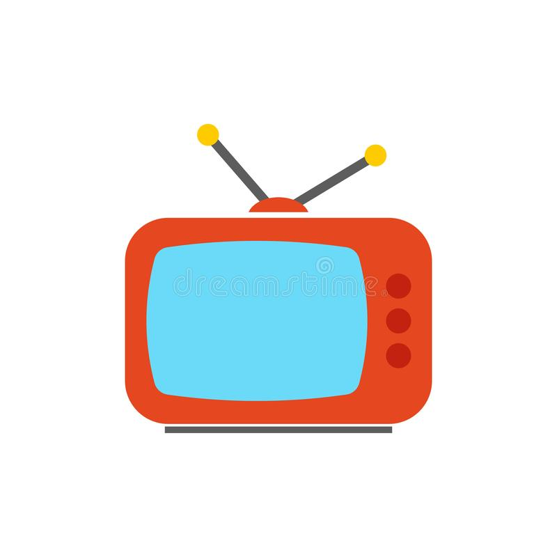 TV ikona rozrywka symbol - płaska wektorowa ilustracja odizolowywająca na białym tle - telewizja ekran - royalty ilustracja