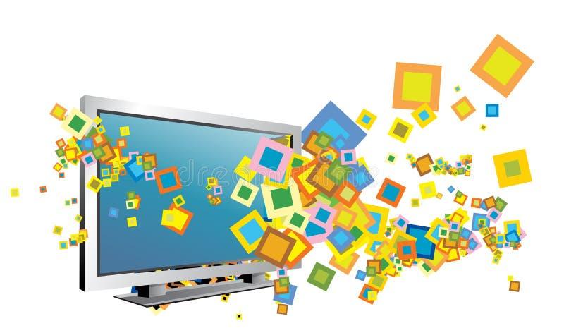 Tv illustration. Tv and sqare illustration done in illustrator stock illustration