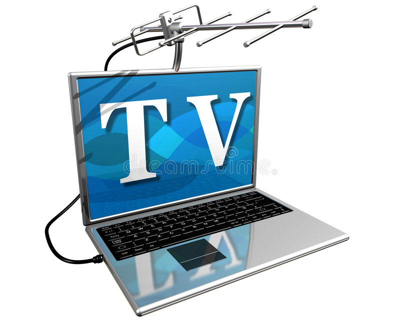 TV on the Internet. Isolated illustration of a laptop computer with a TV aerial mounted on top showing the diversity of entertainment on the Internet royalty free illustration