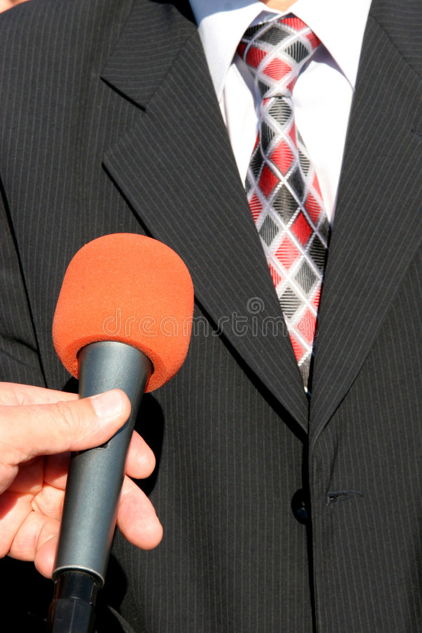 Tv interview. TV reporter with microphone, Tv interview