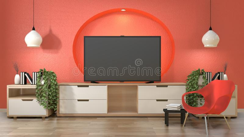 TV in japanese room with decoration on coral color self wall design hidden light.3d rendering. Mock up room interior zen design.3D rendering vector illustration