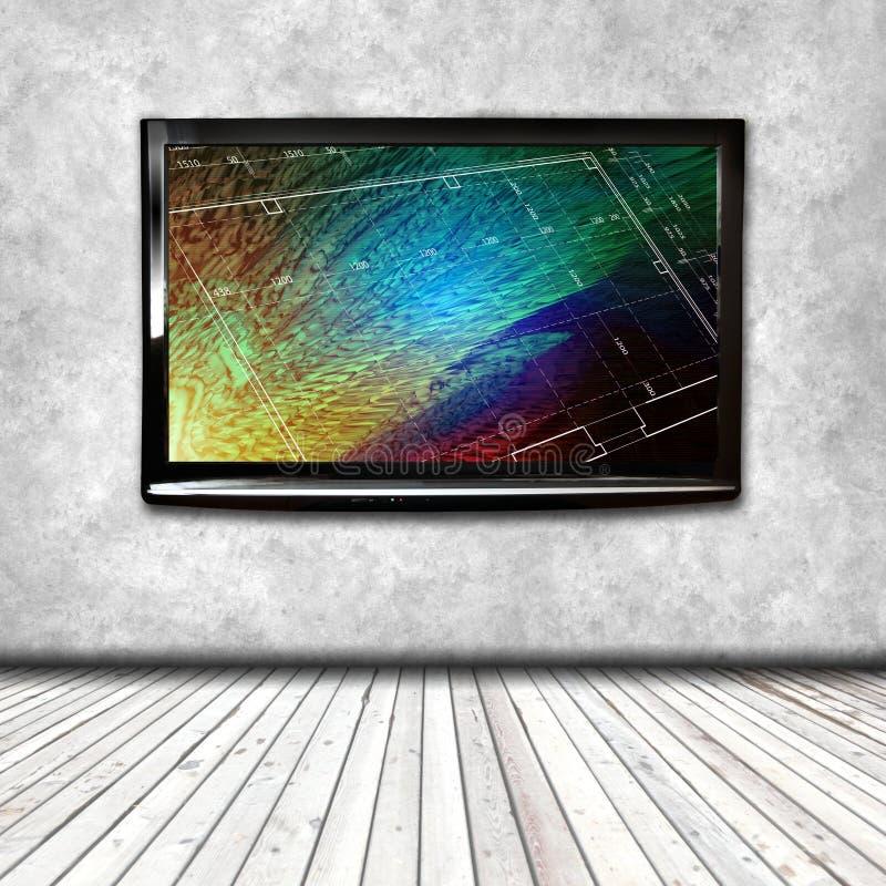 TV 4K på den isolerade väggen royaltyfri illustrationer