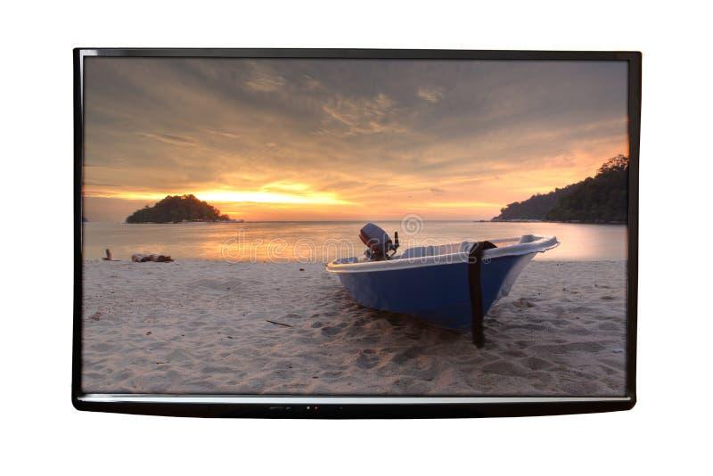 TV 4K på väggen royaltyfri fotografi