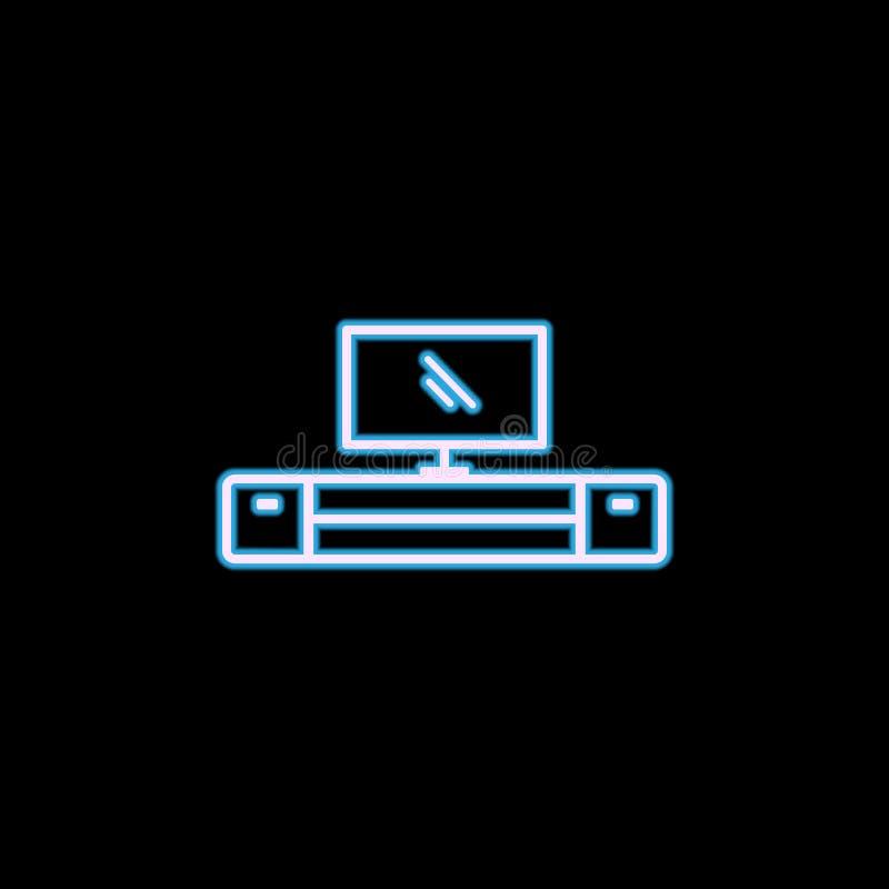 TV-kabinetspictogram in neonstijl Één van het pictogram van de Meubilairinzameling kan voor UI, UX worden gebruikt vector illustratie