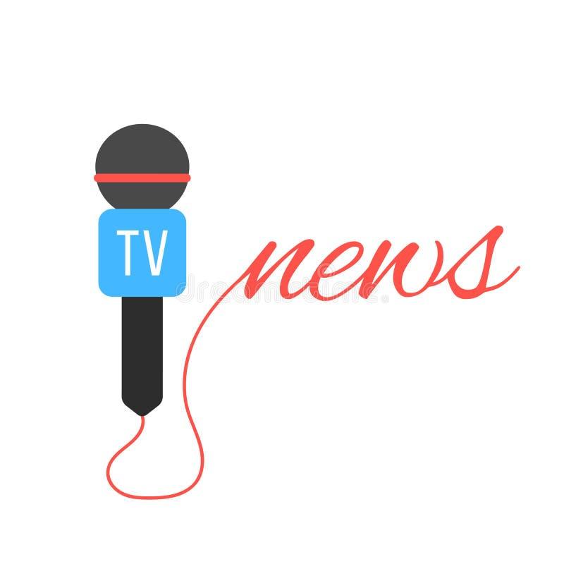 TV-kanaalmicrofoon met nieuws het van letters voorzien stock illustratie