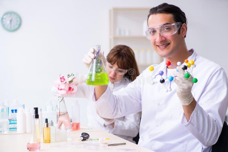 Tv? kemister som arbetar i labbet arkivbilder