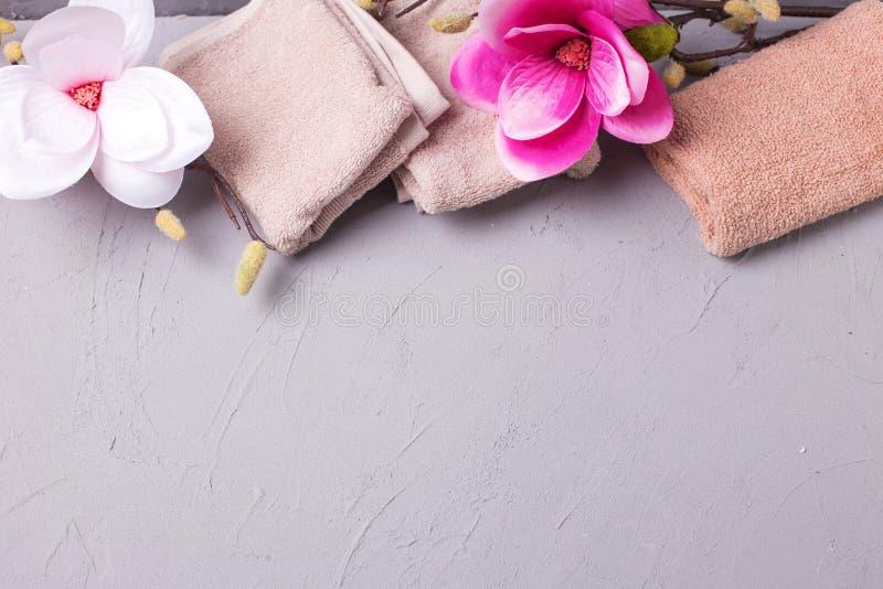 Tv?l-, handduk- och blommasnowdrops arkivfoto