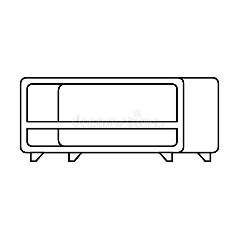 TV-lijst houten pictogram stock illustratie