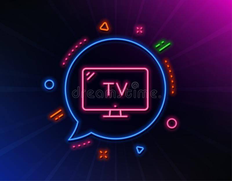 TV line icon. Television sign. Hotel service. Vector. TV line icon. Neon laser lights. Television sign. Hotel service symbol. Glow laser speech bubble. Neon stock illustration