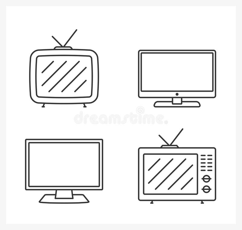 TV Line Icons vector illustration