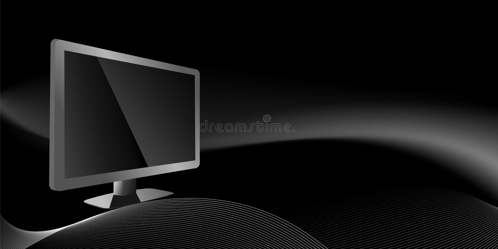 Tv and lines. On black background, vector illustration royalty free illustration