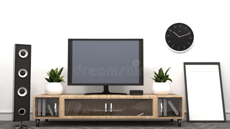 Mock up TV - Living room - Empty room modern style. 3D rendering. TV - Living room - Empty room modern style. 3D rendering stock illustration