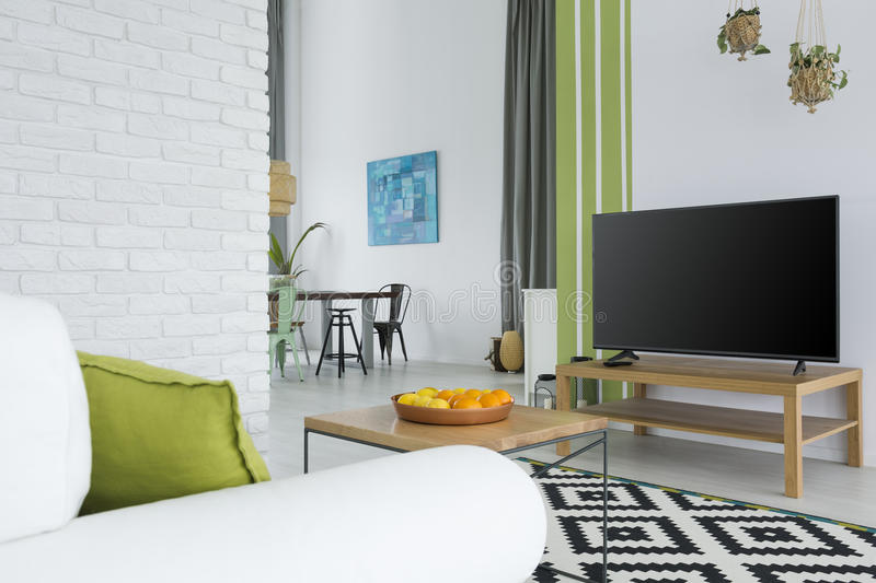 Tv living room with sofa royalty free stock photo