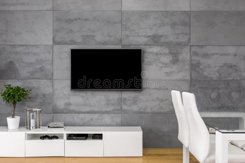 Tv living room with table royalty free stock photo