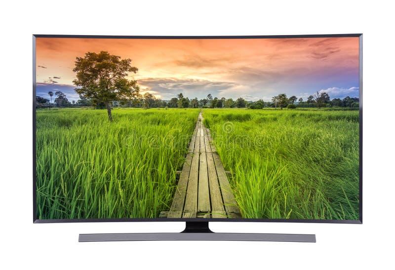 TV llevada con paisaje del puente de madera y de la naturaleza aislada en blanco fotografía de archivo libre de regalías